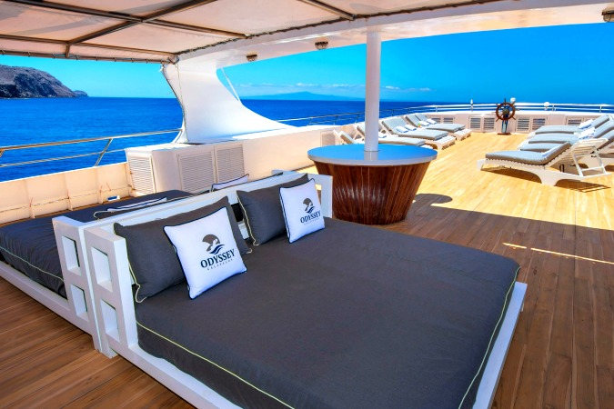 Shaded loungers on the Sun Deck, Galapagos Odyssey motor yacht, Nov 2016