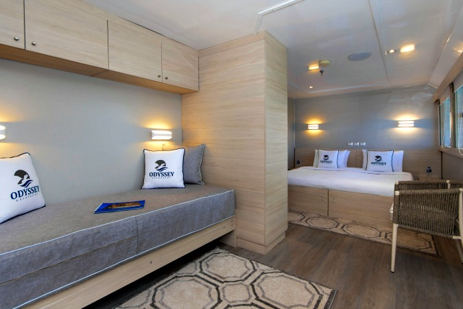 Upper Deck Double Suite, Galapagos Odyssey motor yacht, Nov 2016