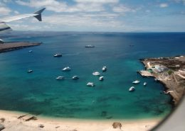 Final approach to Baltra airport, Galapagos islands