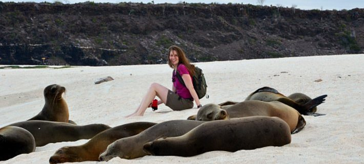 Emily with Sea Lions, Isla Mosquera, Galápagos